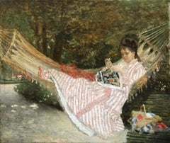 """""""Sewing in the Garden"""" C.19th French Impressionist Woman Figure in Landscape"""