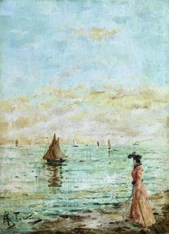 """""""Elégante au Coucher du Soleil"""" Stevens C.19th Belgian Impressionist Figure Sea"""