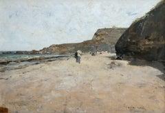 """Promenade sur la Plage"" Loir C.19th French Impressionist Coastal Seascape"