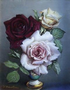 """Flowers"" Klestova Mid C.20th Russian Realist Still Life Roses Flowers in Vase"
