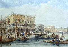 Venice - Doges Palace, 19th Century Traditional Figures in Marine Seascape