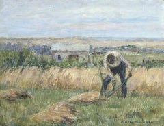 Working the Fields, Duhem 19th Century Impressionist Figure in Landscape
