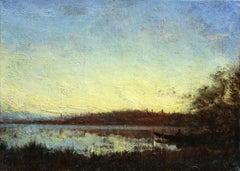 Sunset, Ziem, 19th Century French Barbizon School Boat on Riverscape Landscape