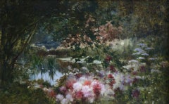 Water Lilies on Lake, Castex-Dégrange, 19th Century French Romantic Flowers