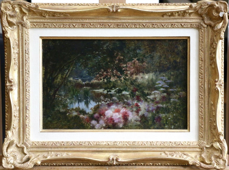 Water Lilies on Lake, Castex-Dégrange, 19th Century French Romantic Flowers - Painting by Adolphe Louis Castex-Degrange