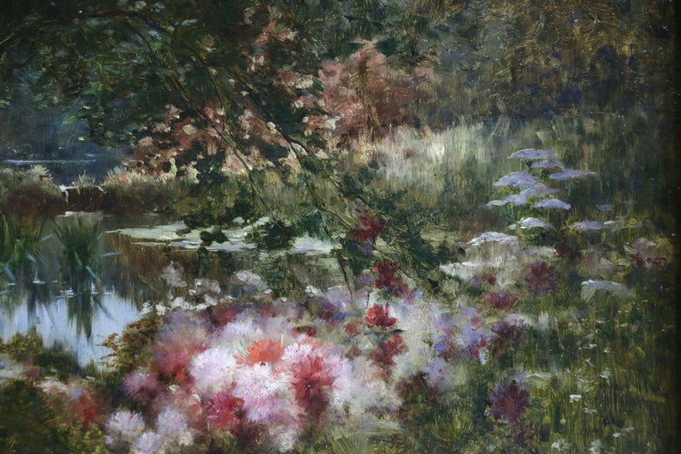 Water Lilies on Lake, Castex-Dégrange, 19th Century French Romantic Flowers - Black Landscape Painting by Adolphe Louis Castex-Degrange