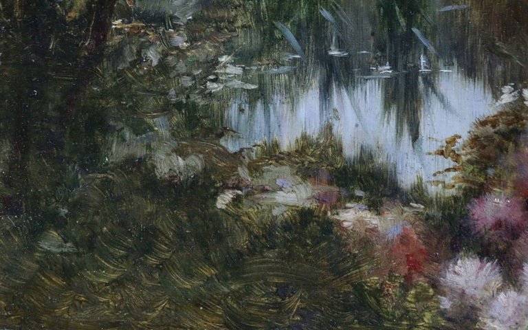 A beautifully brushed painting depicting waterlilies on a lake, with delicate wildflowers in the shadow of overhanging trees on the water's edge by French painter Adolphe-Louis Castex-Dégrange. The piece is signed lower left and dates circa 1880.