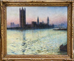Westminster - Evening - 19th Century Riverscape Oil Painting by Gaston Prunier