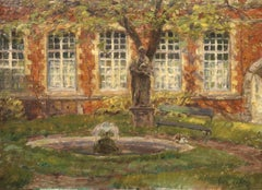 The Artist's Garden - French Impressionist Landscape painting by Henri Duhem
