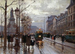 Bastille - Evening - 19th Century Figures in Cityscape Oil by Edouard Cortes