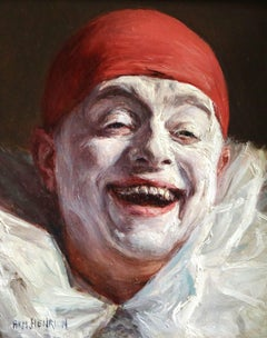 Pierrot - 19th Century French Oil Portrait of Pierrot by Armand Henrion