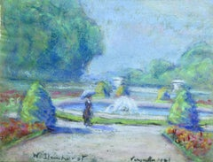 Versailles 1921 - 20th Century French Pastel Figure by Fountain in Landscape