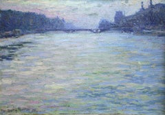 Paris-La Seine - Early 20th Century Oil, French, Riverscape by Martin-Ferrieres