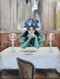 Elegant in a Cafe - 19th Century Watercolour, Figure in Interior by Montzaigle