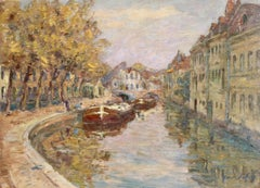 Canal at Douai, 19th Century, French Impressionist Oil, Landscape by Henri Duhem