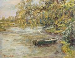 Punt on a River, 19th Century French Oil, Riverscape Landscape by Henri Duhem