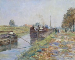The Canal at Douai - 19th Century Landscape Riverscape with Boats by Henri Duhem