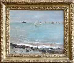 Le Havre - 19th Century Belgian Oil, Boats in Seascape by Alfred Stevens
