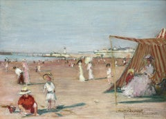 Deauville - Early 20th Century Oil, Elegant Figures at Beach/Coast by J Domergue