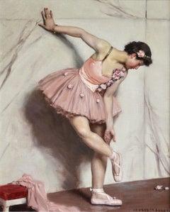 Ballet Dancer -20th Century Oil, Ballerina Figure in Interior, by Auguste Leroux