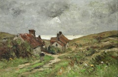 Cottages by the Sea -19th Century Oil, Figure & Houses in Landscape by Guillemet