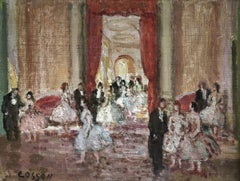 The Ball - 20th Century Oil, Elegant Dancing Figures in Interior by Cosson