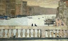 Balustrade du Rialto aux Deux Pigeons - 20th Century Riverscape by Rene Genis