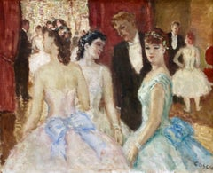 Danseuses - 20th Century French Oil, Elegant Figures in Interior by Cosson