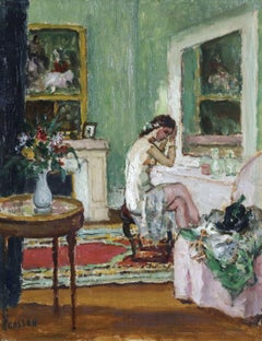 Danseuse dans sa Loge - 20th Century French Oil, Figure in Interior by Cosson