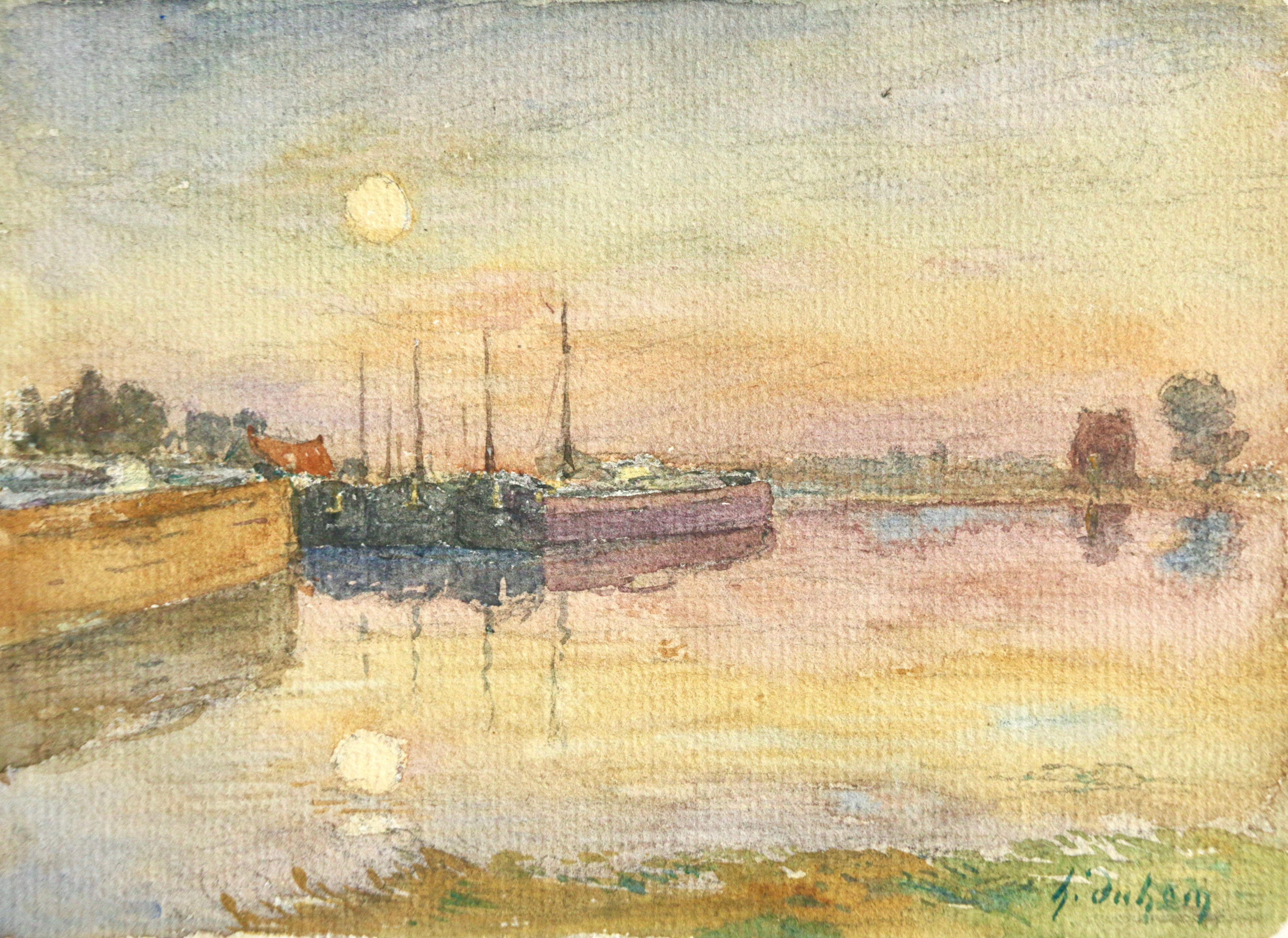 Barges at Sunset - 19th Century Watercolor, Boats on River in Landscape by Duhem