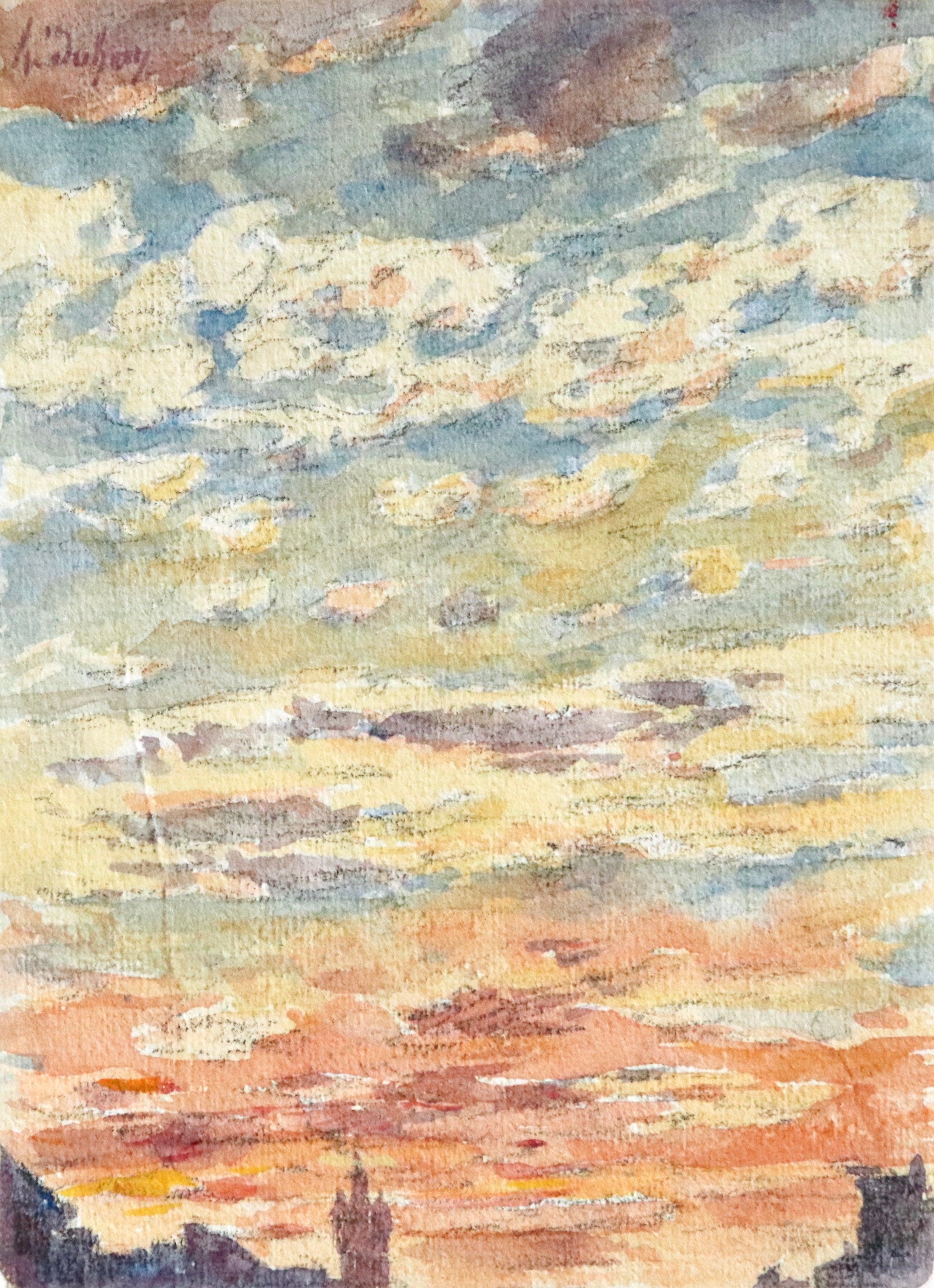 Coucher du Soleil - 19th Century Watercolor, Sunset Sky Landscape by Henri Duhem