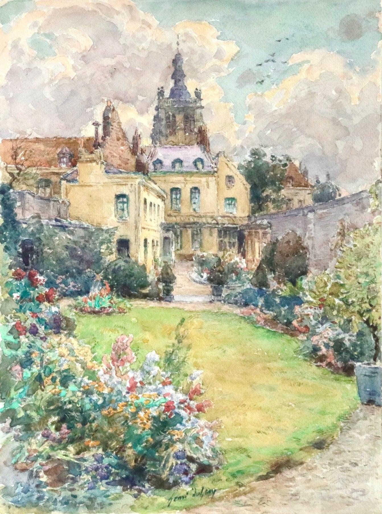 Douai - Maison de l'oncle Dincq - au square St Pierre - Landscape by Henri Duhem