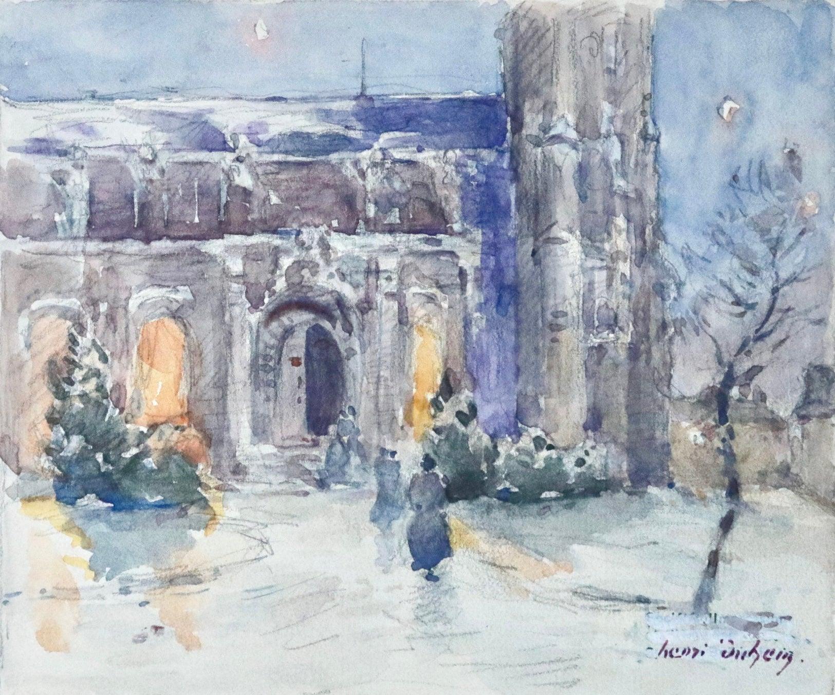 L'Église dans la Neige -19th Century Watercolor, Figures in Snow Landscape Duhem