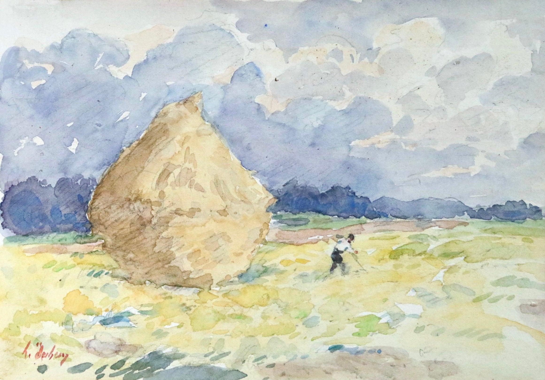 Le Lot Revery - 19th Century Watercolor, Figure in Field Landscape by H Duhem