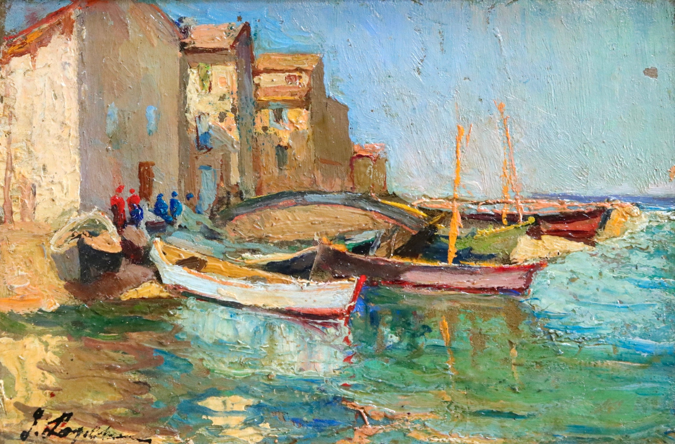 Moored Boats - Martigues - 20th Century Oil, Canal Landscape by Georges Lapchine