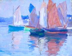 """""""Concarneau"""" Thompson C.19th Australian Post-Impressionist Sailboats Seascape"""