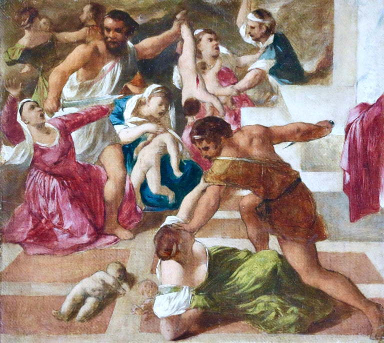 """""""Massacre of the Innocents - Sketch"""" Italian C.16th Old Master Religious Figures"""