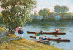 Boating Party on the River - 19th Century Figures in Riverscape by G Poetzsch