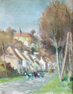 """""""Carriage on the Road to Rolleboise"""" Luce C.19th French Impressionist Landscape"""