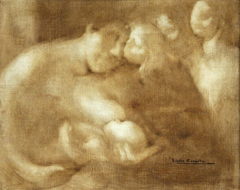 """""""Maternite"""" Carriere C.19th French Impressionist Figures with Baby"""