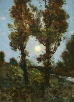"""Moonlight"" Harpignies C.19th French Barbizon Moonlit Landscape"