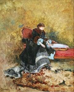 """""""Une Elegante"""" Duez C.19th French Impressionist Figure in Interior"""