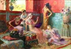"""The Harem"" Rochegrosse C.19th French Orientalist Women Figures in Interior"