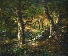 In the Forest - 19th Century Barbizon Oil Figure in Landscape by Narcisse Diaz