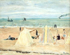 Calais Beach - Early 20th Century Oil Figures in Coastal Landscape by Dunlop
