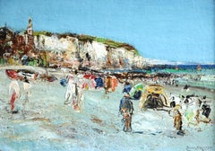 Bathers at Dieppe - 19th Century Oil Figures at the Coast Landscape by James Kay