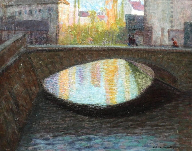 A wonderful oil on panel of a bridge over the canals in Bruges circa 1910. Signed lower left.   Charreton was a landscape artist in the Lyons tradition with a love of sensual impasto. In his works he seeks to capture fleeting, momentary effects,
