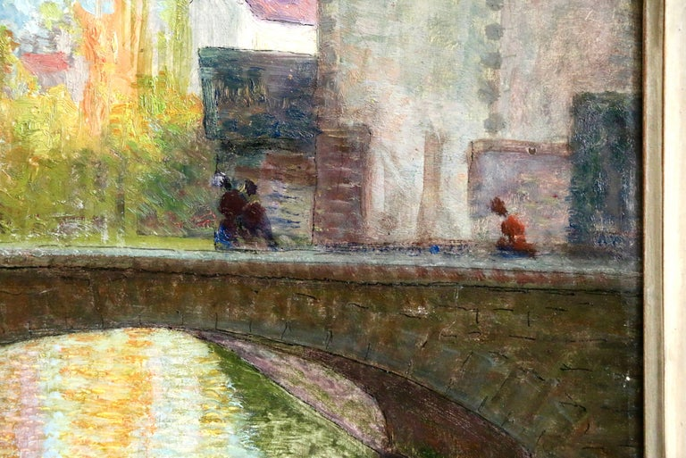Bruges - 19th Century Oil, Figures in Landscape with Canal by Victor Charreton For Sale 2