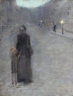 Figures in the Street - Evening - 19th Century Oil, Figures by Eugene Carriere