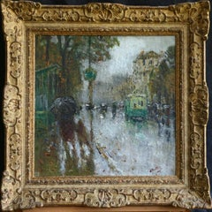 Paris in the Rain - 19th Century Oil, French, Figures in Cityscape by Montezin